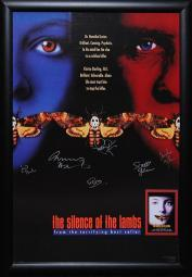 Silence of the Lambs - Cast Signed Movie Poster Wood Framed with COA