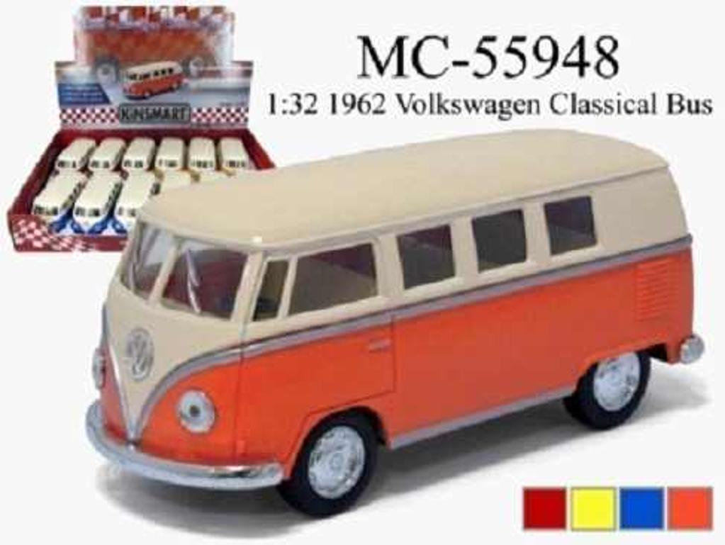 Rigz 1-28 die cast 1962 vw bus with print tysi55940