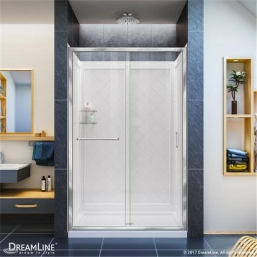 DreamLine DL-6118C-04CL 34 x 60 in. Infinity-Z Frameless Sliding Shower Door, Single Threshold Shower Base Center Drain & QWALL-5 Shower Backwall Kit