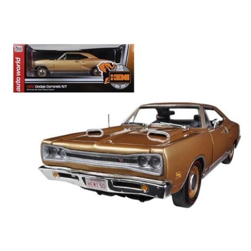 Autoworld AMM1024 1969 Dodge Coronet R & T Light Bronze Poly HEMI 50th Anniversary Limited to 1250 Piece 1-18 Diecast Model Car