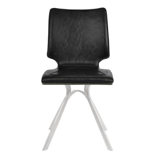 Armen Living LCMLSIVBBSGR 43 x 17 x 18 in. Marley Contemporary Dining Chair, Brushed Stainless Steel with Vintage Black Faux Leather & Grey Walnut Woo