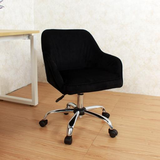 Belleze Modern Office Chair Task Desk Adjustable Swivel Height Velvet, Black