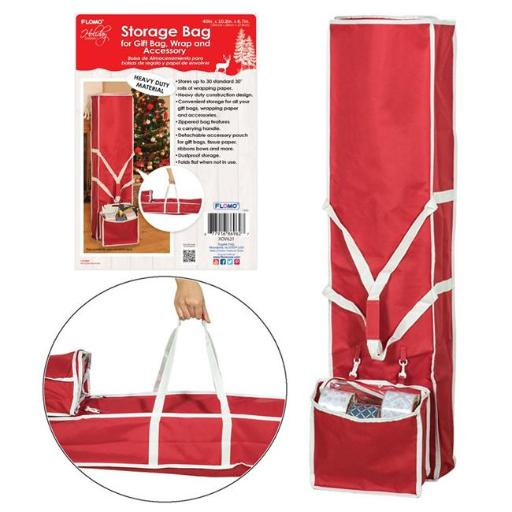 DDI 2319926 Christmas Wrapping Paper & Ribbon Storage Bag, Red & Green - Case of 6
