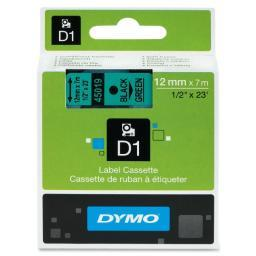 Dymo 45019 black print/ green tape, 1/2 x 23