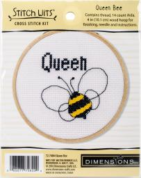 """Queen Bee Mini Counted Cross Stitch Kit-4"""" 14 Count 72-74844"""