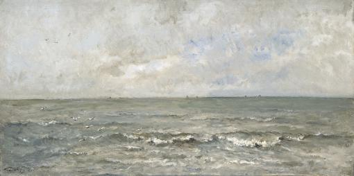 Seascape, By Charles Francois Daubigny, 1876, French Painting, Oil On Canvas. Waves Washing Ashore With Fishing Boats In Distance. Poster Print
