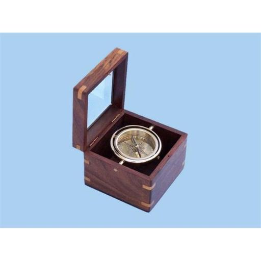 7 in. Solid Brass Lifeboat Compass with Rosewood Box - Brown