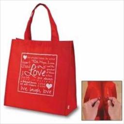 Christian Brands 12878x Tote With Magnetic Closure Love Nylon Red 14 In. Square 6 In. Gusset