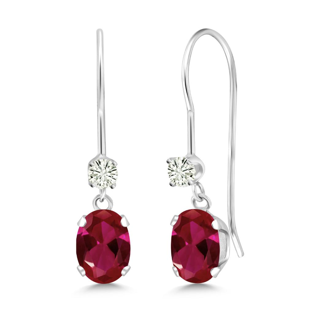 14K White Gold Dangle Earrings Oval Red Created Ruby and Forever Classic Created Moissanite 0.12ct (DEW) by Charles & Colvard