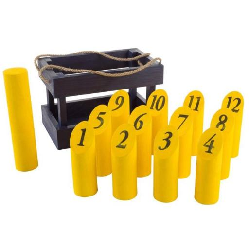 Hey Play M420029 Blue & Yellow Complete Set with 12 Numbered Pins Throwing Dowel & Carrying Crate Wooden Molkky Throwing Game for Adults, Kids