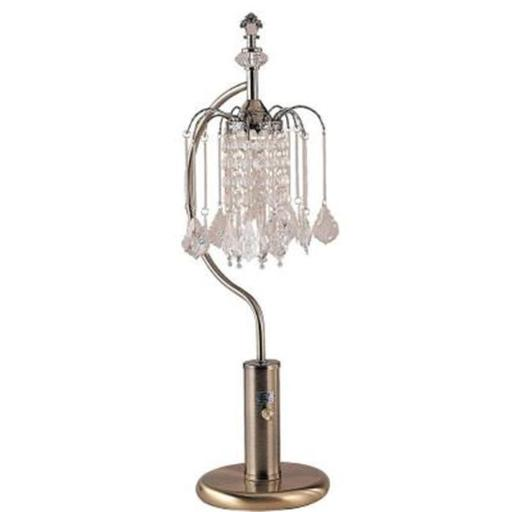 27 in. Ant Brass Table Lamp With Crystal Inspired Shade