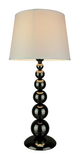 Metallic Black Stacked Orbs Table Lamp With Fabric Shade