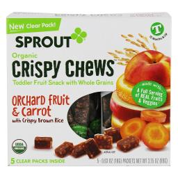 Sprout - Organic Crispy Chews Toddler Fruit Snack with Whole Grains Orchard Fruit & Carrot with Crispy Brown Rice - 5 Count