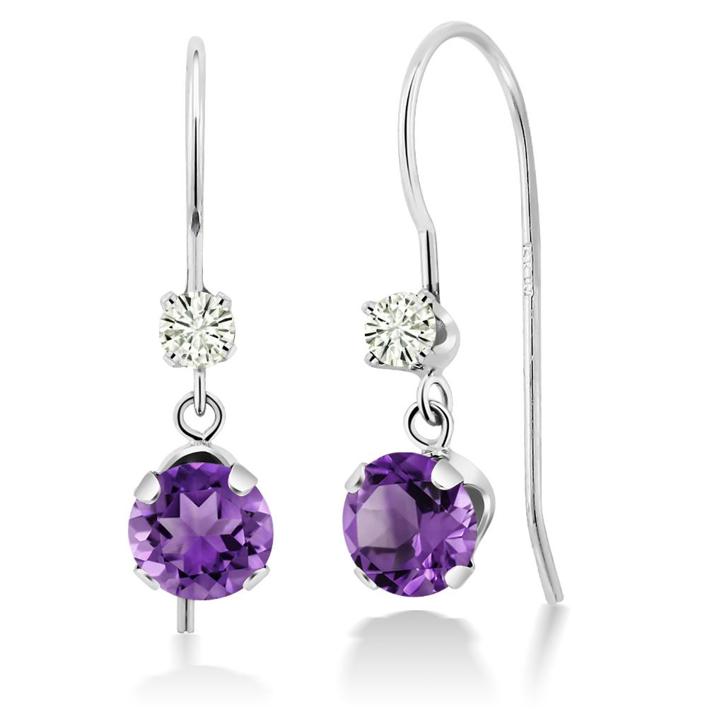 14K White Gold Dangle Earrings Round Purple Amethyst and Forever Classic Created Moissanite 0.12ct (DEW) by Charles & Colvard