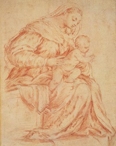 Da Ponte Jacopo Know As Bassano Enthroned Madonna And Child 1573 16Th Century Black And Red Chalk On Paper Italy Private Collection Everett.