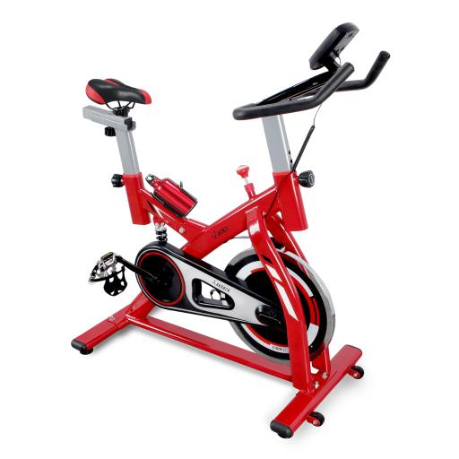 AKONZA Indoor Cycling Bike Exercise Stationary Bike with Water Bottle Holder and LCD Monitor, Red