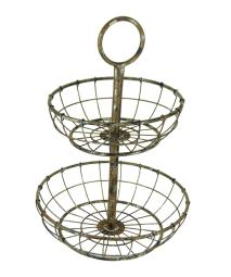 Distressed Metal Wire 2-Tier Round Serving Tray Stand