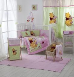 [Pink Winnie The Pooh] Crib Bedding Set Bedding Collection (4PC Bedding Set + 1 x Hamper)