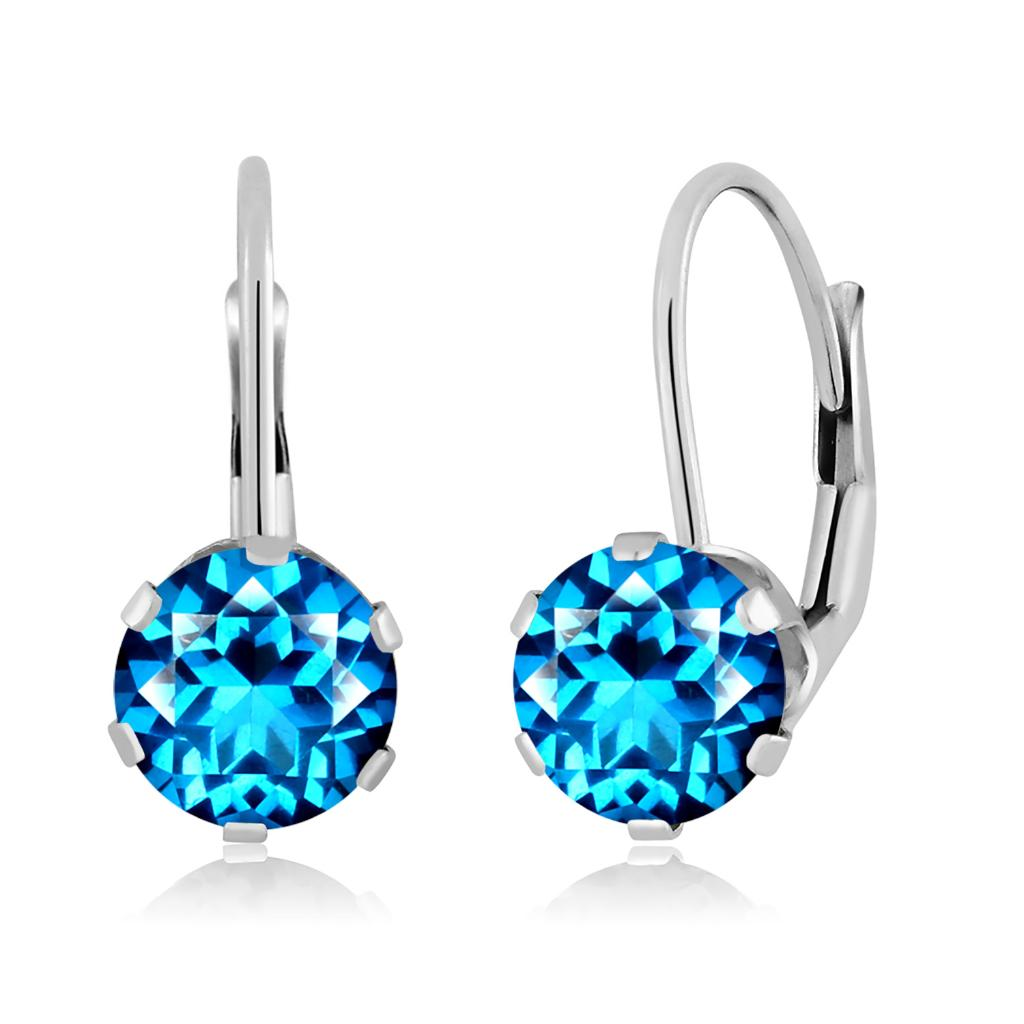 14K White Gold Dangle Earrings Set with Round Kashmir Blue Topaz from Swarovski