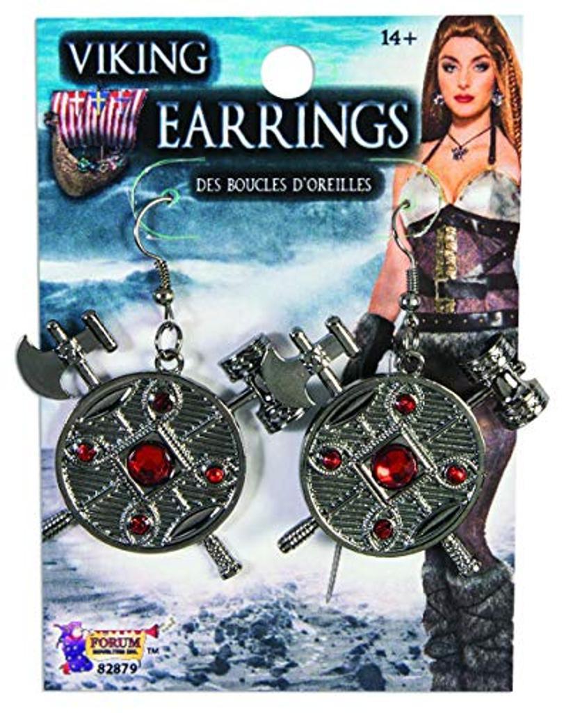 Forum Novelties X82879 Viking Earrings Women, Grey