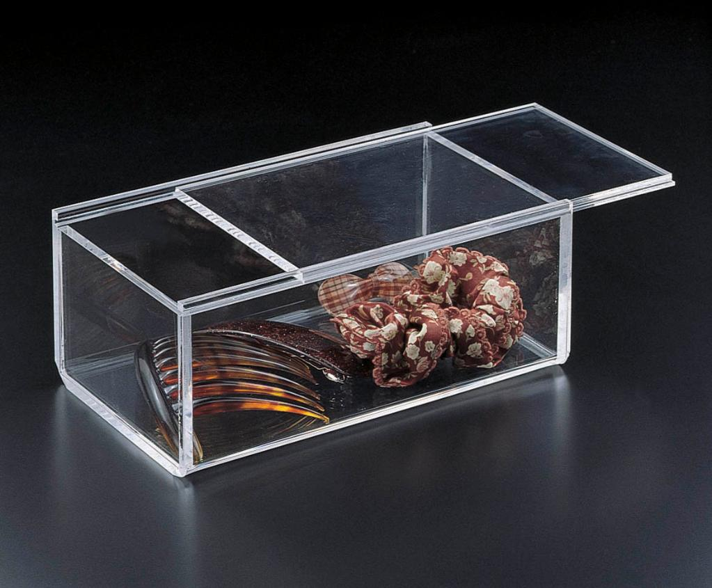 Acrylic Lucite Sliding Catchall Box 8 x 4 x 3
