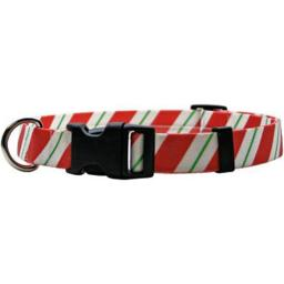 """Yellow Dog Collar Extra Small 8""""-12""""-Peppermint Stick"""