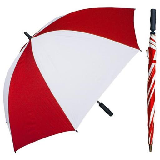 RainStoppers W005RDW 60 in. Red & White Single Canopy Golf Umbrella with Foam Handle, 6 Piece