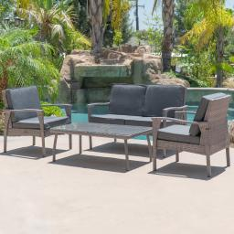 BELLEZE 4 Piece Outdoor Lounge Wicker Set Love Seat Glass table 2 Chairs All Weather Outdoors UV Resistant Grey Finish