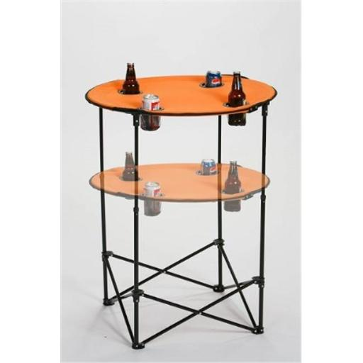 Picnic Plus PSM-104O Portable round tailgate table extends from 24 in. to 36 in. - ORANGE