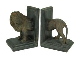 Antique Stone Finish Lion Top and Tail Bookend Set