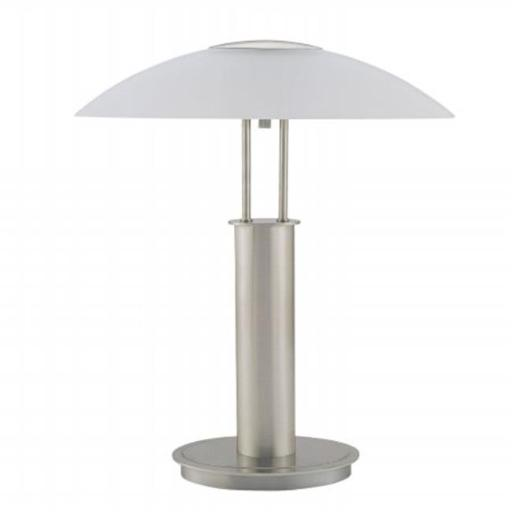 Ore International 6276 18 in. Touch Lamp Table - Brushed Nickel with Glass Mushroom Lamp Shade
