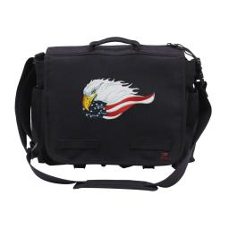 Patriotic Eagle and Flag Embroidered Concealed Carry Canvas Messenger Bag, Black