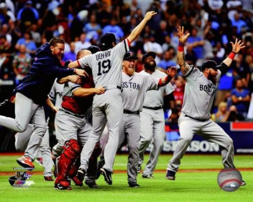 The Boston Red Sox celebrate winning Game 4 of the 2013 American League Division Series Photo Print