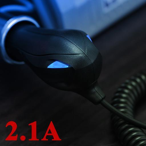 FAST 2.1A MICRO USB CAR CHARGER FOR CELL PHONE or TABLET DUAL TAIL-LIGHT LED