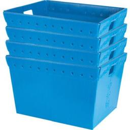 Olympia Sports CT042P Small Plastic Nesting Storage Totes, Blue - Set of 4