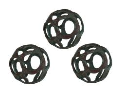 Set of 3 Verdigris Finish Open Work Decorative Balls