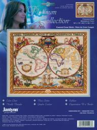 "Platinum Collection Olde World Map Counted Cross Stitch Kit-18""X15"" 14 Count 15-0223"