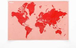 Palomar Crumpled World Map Color Coral