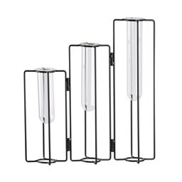 Urban Trends Metal Clustered Bud Vase Holder with Uneven Glass Tube Vases on Rotating Stand in Coated Finish - Black