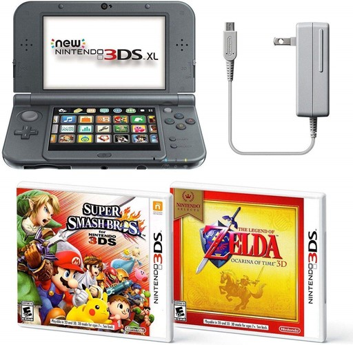 Black New Nintendo 3DS XL Bundle Nintendo, AC Adapter, and Two Full Games 3D Model (coupon code; NIN3DSXL)