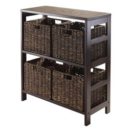 Winsome Granville 5 Piece Wooden Storage Shelf with 4 Foldable Baskets, Espresso