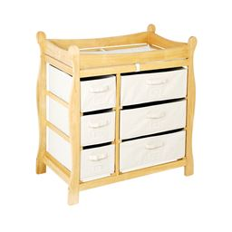 Badger Basket Co Natural Sleigh Style Changing Table with Six Baskets