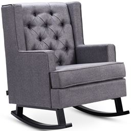 Retro Fabric Upholstered Button-Tufted Wingback Rocking Chair
