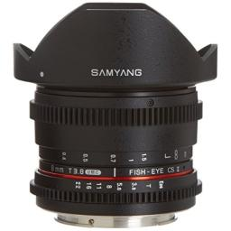 Samyang Cine SYHD8MV-C HD 8mm t38 Fisheye Lens with De-Clicked Aperture and Removable Hood for Canon