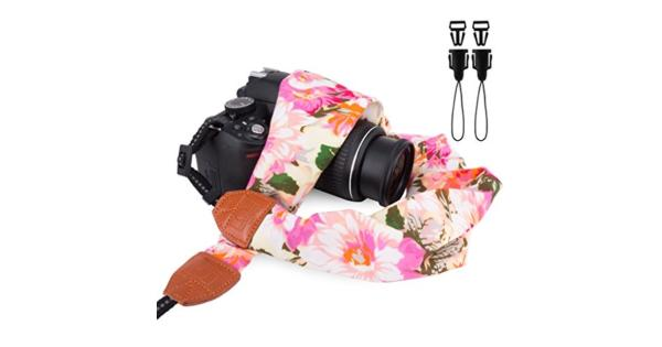 Elvam Universal Men and Women Scarf Camera Strap Belt Compatible for All DSLR Camera SLR Camera Instant Camera and Digital Camera - Pink Flower... Elvam Universal Men and Women Scarf Camera Strap Belt Compatible for All DSLR Camera SLR Camera Instant Camera and Digital Camera - Pink Flower Pattern