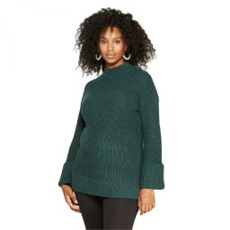 Isabel Maternity Cuff Sleeve Pullover Sweater X-Small Dark Green