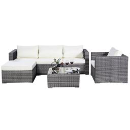 6 pcs Rattan Cushioned Sofa with Ottoman