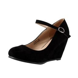 Bella Marie Denise-1 Women's Round Toe Wedge Heel Mary Jane Squeaky Strap Suede Shoes,Black,8