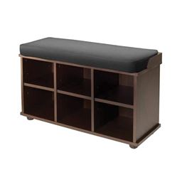 Winsome Townsend Solid Wood Bench with Black Cushion Seat - Dark Espresso