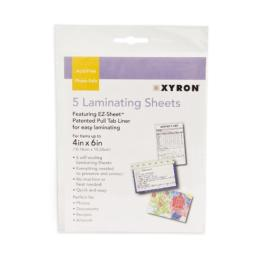 "Xyron Laminating Sheets, 4"" x 6"" Pouches, for Photos, Documents, Recipes, Artwork, Cold Laminating, EZ-Sheet, 5 Pack (XSLP016)"